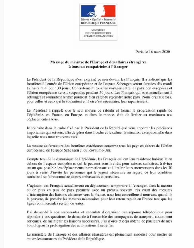 Message du Ministre des Affaires Etrangères